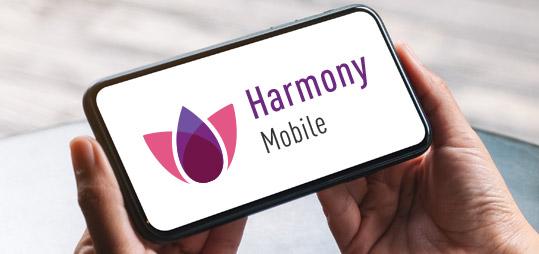 Logotipo de Harmony Mobile en el teléfono