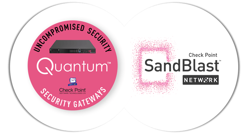 Quantum Security Gateway Appliance and SandBlast Network Protection logos
