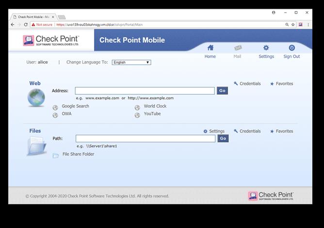 Remote VPN SSL VPN Portal Screen Capture