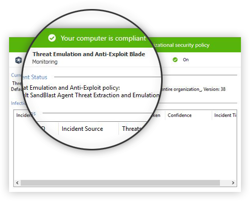 SandBlast Agent Endpoint and Threat Protection: Threat Emulation screen capture