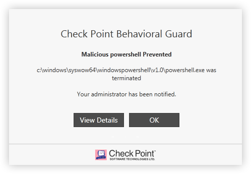 SandBlast Agent Endpoint and Threat Protection: Behavioral Guard screen capture